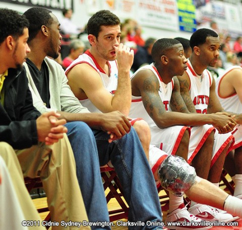 Anthony Campbell with an ice pack on his knee that he injured during the Monday night game against Arkansas State. Austin Peay Basketball.