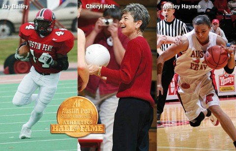 (L to R) Jay Bailey, Cheryl Holt and AShley Haynes newly elected to the APSU Athletics Hall of Fame. (Courtesy: Austin Peay Sports Information)