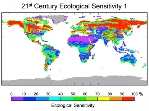 Predicted percentage of ecological landscape being driven toward changes in plant species as a result of projected human-induced climate change by 2100. (Image credit: NASA/JPL-Caltech)
