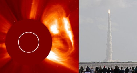 "The two Mars launches of Nov. 26th, 2011. On the left, a solar explosion hurls a CME toward the Red Planet (Credit: SOHO). On the right, the Mars Science Lab or ""Curiosity"" lifts off from Cape Canaveral. (Credit: Howard Eskildsen of Titusville, FL)"