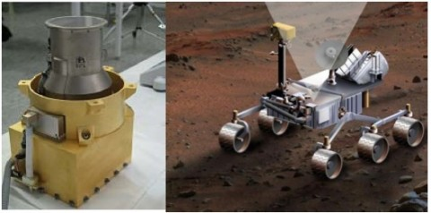 Photo of RAD flight model in the lab (left) and artwork of an older MSL rover design, showing RAD charged particle channel 65-degree field-of-view pointing towards the zenith.