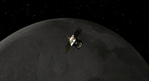 Artist concept of GRAIL mission. (Image credit: NASA/JPL-Caltech)