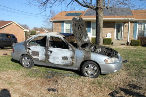 One of the cars that was set on fire. (Photo by CPD-Jim Knoll)
