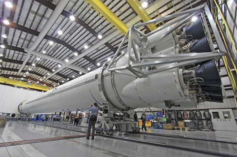 Media receive an update on SpaceX's Falcon 9 rocket and Dragon capsule, which are being matured for two NASA purposes: cargo and crew. (Photo credit: Jim Grossmann)