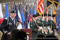 Col. Daniel R. Walrath addresses the crowd at the Gander Crash Memorial Service on Fort Campbell Yesterday