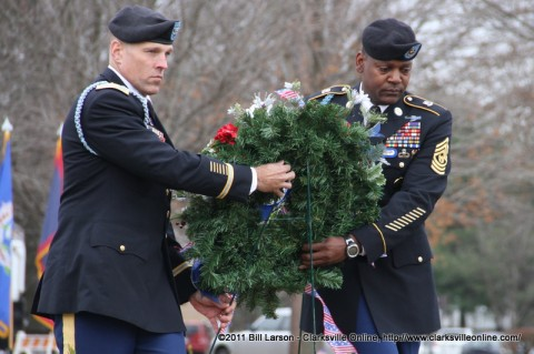 Col. Daniel R. Walrath and Sgt Maj.Alonzo J. Smith lay the wreath to honor the Gander Crash Victims