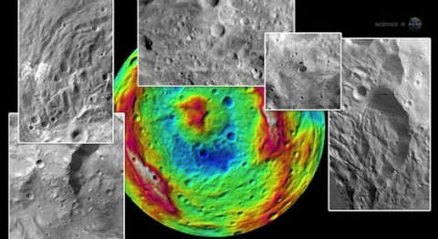 Like Earth and other terrestrial planets, Vesta has ancient basaltic lava flows on the surface and a large iron core. It also has tectonic features, troughs, ridges, cliffs, hills and a giant mountain. False colors in this montage denote topography, where the colors indicate heights ranging from -22 km to +19 km above a reference ellipsoid.