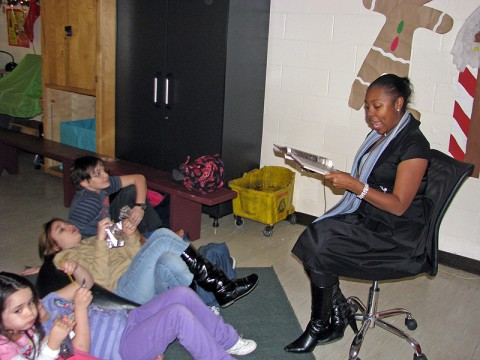 """Children listen to a reading of the """"Polar Express"""" at the Kleeman Community Center Tuesday."""