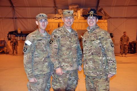 Maj. Gen. James C. McConville (center) Maj. Brendan Cullinan (right) and 1st Lt. Steven Rogers (left). (Photo by Sgt. 1st Class Stephanie Carl)
