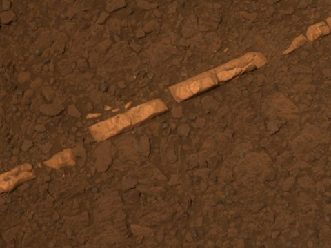 """'Homestake' Vein in Color - This color view of a mineral vein called """"Homestake"""" comes from the panoramic camera (Pancam) on NASA's Mars Exploration Rover Opportunity. The vein is about the width of a thumb and about 18 inches (45 centimeters) long. (Image Credit: NASA/JPL-Caltech/Cornell/ASU)"""