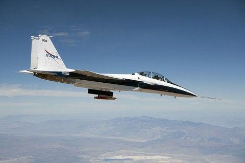 NASA Dryden's F-15B research testbed aircraft flew the CCIE experimental jet engine inlet to speeds up to Mach 1.74, or about 1.7 times the speed of sound. (NASA / Jim Ross)