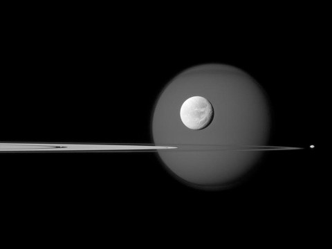 A quartet of Saturn's moons, from tiny to huge, surround and are embedded within the planet's rings in this Cassini composition. (NASA/JPL-Caltech/Space Science Institute)