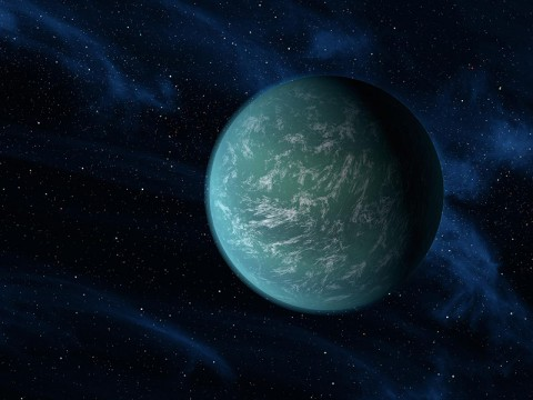 This artist's conception illustrates Kepler-22b, a planet known to comfortably circle in the habitable zone of a sun-like star. (Image credit: NASA/Ames/JPL-Caltech)