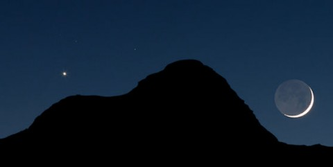 "A Venus-Moon conjunction photographed in Nov. 2011 by Thad V'Soske of Fruita, CO. The ""Night After Christmas"" conjunction will look about the same. (Copyright: T. V'Soske/Cosmotions.com)"