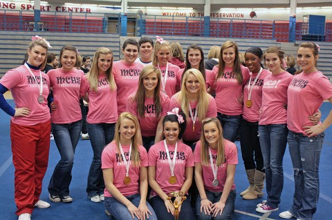 Pictured are Montgomery Central High Cheerleaders: Bottom Row (L-R): Katie Boyce, Harley Rose, Miranda Downing; Middle row (L-R): Bailey McMahan, Kylie Eastin; Back Row (L-R): Charlsie Morrison, Nicole Lynn, Brooklyn Cilk, Josie Griffey, Storm Knox, Crystal Scott, Sarah Hedstrom, Ashley Travis, Channell Davis, Alisha Frost, McKayla Fielder; Keisha Rugante – not pictured. Coaches (not pictured) – Keri Lehman and Paige Walker.