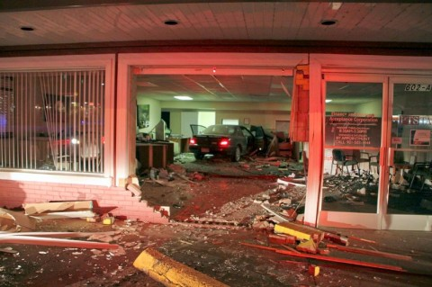 99 Acura ran into a building on Riverside Drive early Saturday morning. (Photo by CPD-Jim Knoll)