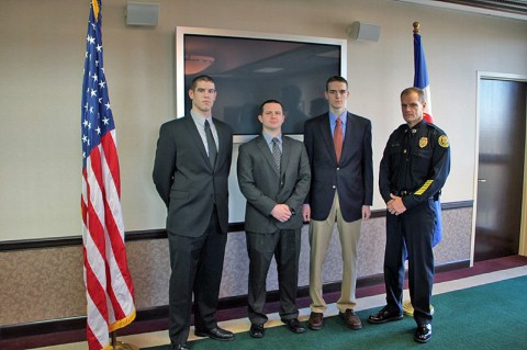 (L-R) Adam Post, Jordan Parnell, Justin Steward, and Clarksville Police Chief Al Ansley. (Photo by CPD-Jim Knoll)