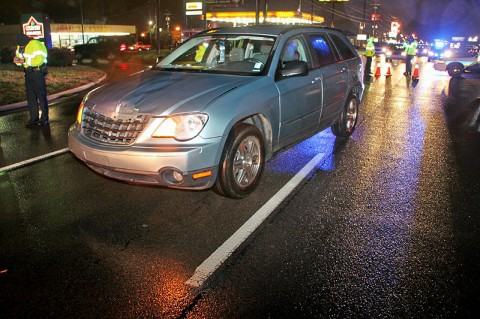 2008 Chrysler Town and Country van that stuck a pedestrian on Wilma Rudolph Boulevard Monday night. (Photo by CPD-Jim Knoll)
