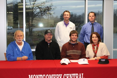 Montgomery Central High School senior golfer Hunter Rye (third from left) signed to play golf in college next year at Trevecca Nazarene University in Nashville. With Rye are (from the left) MCHS golf coach Jimmy Young, Trevecca golf coach Robbie Wilson, Richard Rye, MCHS AD Will Ferrell and Marla Rye.