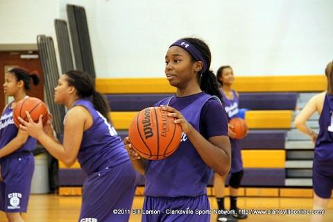 Tiasha Gray at a Clarksville High School basketball practice.