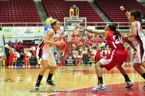 Whitney Hanley led the Lady Govs with 25 points in its loss at SIU Edwardsville, Monday. Austin Peay Women's Basketball.