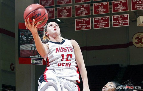 Senior Whitney Hanley scored 20 points – her 16th 20-point performance this season – in Austin Peay's loss at UT Martin, Thursday. Austin Peay Women's Basketball. (Courtesy: Austin Peay Sports Information)