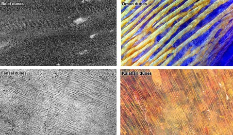 Data from NASA's Cassini spacecraft show that the sizes and patterns of dunes on Saturn's moon Titan vary as a function of altitude and latitude. (NASA/JPL-Caltech, and NASA/GSFC/METI/ERSDAC/JAROS and U.S./Japan ASTER Science Team)