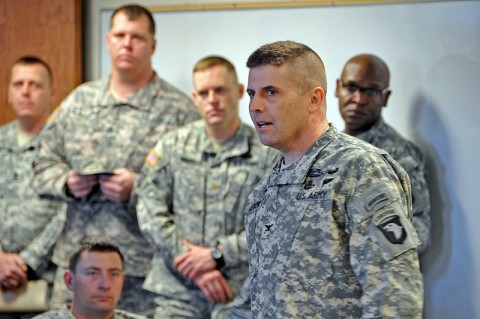 Col. Valery C. Keaveny Jr., commander of 4th Brigade Combat Team, 101st Airborne Division, addresses his soldiers. (Photo by Staff Sgt. Matthew Graham)