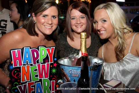 Three young ladies celebrating New Years at the Gilroy on University Avenue
