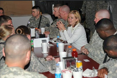 Congressman Marsha Blackburn has lunch with men and women of the 101st Airborne in Afghanistan (Photo courtesy of the 101st Airborne Division)