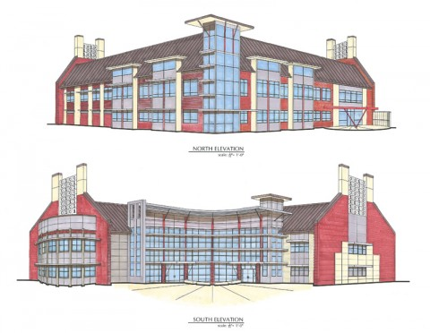 This architect rendering from Rufus Johnson Associates in Clarksville shows the front and back of the new mathematics and computer science building to be built at Austin Peay State University, with construction beginning in Fall 2012. (Image by Rufus Johnson Associates)