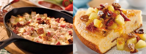 (L to R) Monte Cristo Cornbread Skillet and Caramelized Maple Apple Bacon Brunch Bake.