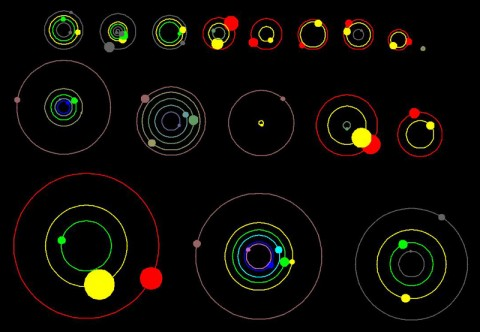 This artist's concept shows an overhead view of the orbital position of the planets in systems with multiple transiting planets discovered by NASA's Kepler mission. All the colored planets have been verified. More vivid colors indicate planets that have been confirmed by their gravitational interactions with each other or the star. Several of these systems contain additional planet candidates (shown in grey) that have not yet been verified. (Image credit: NASA Ames/UC Santa Cruz)