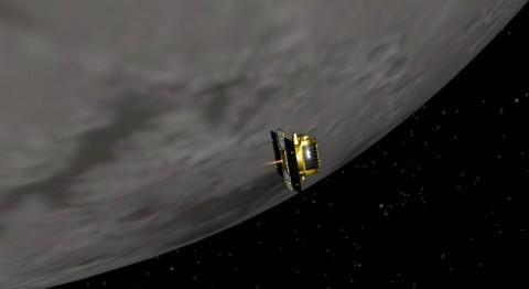 Artist concept of GRAIL-B performing its lunar orbit insertion burn. (Image credit: NASA/JPL-Caltech)