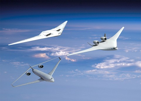 Three proposed aircraft designs have varying levels of success in meeting tough NASA goals for reducing fuel use, emissions and noise all at the same time. (Image credit: NASA)