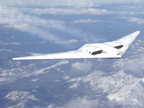 "Northrop Grumman's concept is based on the extremely aerodynamic ""flying wing"" design. (Image credit: NASA/Northrop Grumman )"