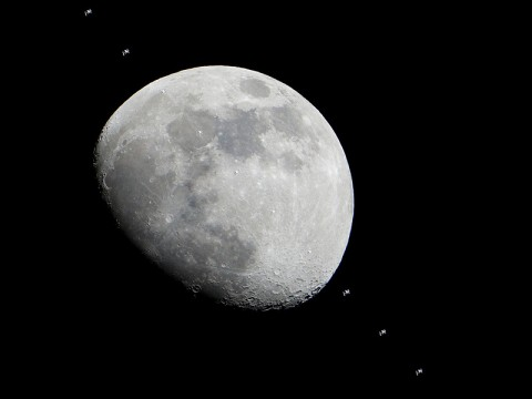 Multiple images of the International Space Station flying over the Houston area have been combined into one composite image to show the progress of the station as it crossed the face of the moon in the early evening of Jan. 4th. (Photo credit: NASA)