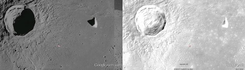 Left: A normal one-camera image of the lunar surface. Right: A composite Apollo Zone image showing the best details from multiple photographs. (Credit: NASA/Google Earth)