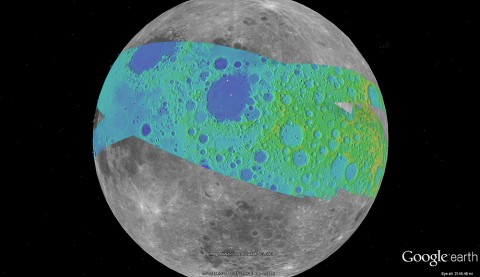 The color on this map represents the terrain elevation in the Apollo Zone mapped area. (Credit: NASA/Google Earth)