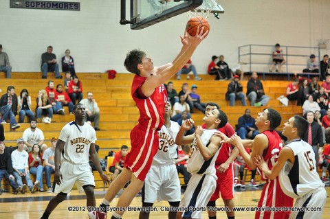 Kyle Weldon goe up for a reverse lay up in Rossview's game at Northeast High on Jan. 24th, 2012.
