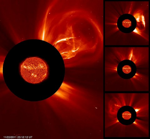 The Sun produced about a dozen coronal mass ejections (CMEs) in eight days. The SOHO C2 coronagraph shows the storms (both large and small) blasting out in different directions. The Sun itself taken by the Solar Dynamics Observatory in extreme UV light was scaled appropriately and superimposed on the coronagraph for the same time period. (Credit: SOHO/SDO)