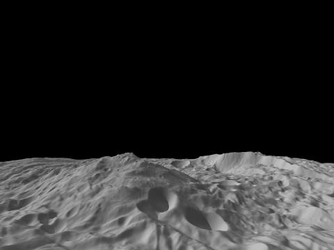 A side view of Vesta's great south polar mountain. (Image credit: NASA/JPL-Caltech/UCLA/MPS/DLR/IDA/PSI)