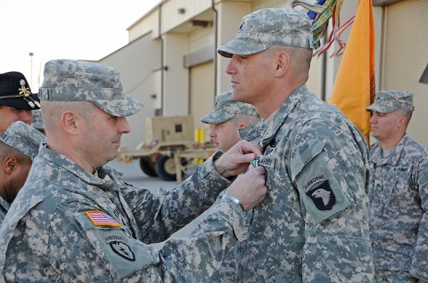 U.S. Army Sgt. Shaun O. Chandler, a team leader and native of Tallulah, La., from Troop C, 1st Squadron, 61st Cavalry Regiment, 4th Brigade Combat Team, 101st Airborne Division, was awarded the Army Commendation Medal for Valor by U.S. Army Col. Valery C. Keaveny, Jr., the commander of the 4th BCT, 101st ABN DIV during a ceremony, Jan. 23rd, 2012, at Fort Campbell, KY. (Photo by Sgt. Kimberly Menzies)