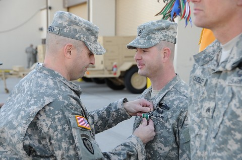 U.S. Army Staff Sgt. William D. Stuckey, a squad leader and native of New Holland, Ohio, from Troop C, 1st Squadron, 61st Cavalry Regiment, 4th Brigade Combat Team, 101st Airborne Division, was awarded the Army Commendation Medal for Valor by U.S. Army Col. Valery C. Keaveny, Jr., the commander of the 4th BCT, 101st ABN DIV during a ceremony, Jan. 23rd, 2012, at Fort Campbell, KY. (Photo by Sgt. Kimberly Menzies)