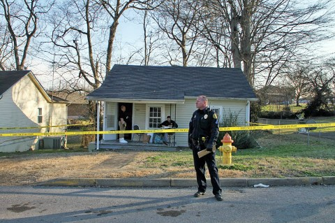 Clarksville Police investigate a double homicide that happened on Main Street Friday night. (Photo by CPD-Jim Knoll)