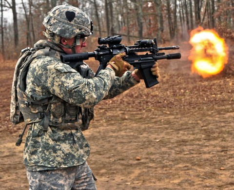 Sgt. Vincent Mennell, a combat engineer with Company A, 2nd Brigade Special Troops Battalion, 2nd Brigade Combat Team, 101st Airborne Division (Air Assault), fires the newly issued M26 Modular Accessory Shotgun System at Fort Campbell's Range 44b, Feb. 10th. The 2nd BCT, also known as the Strike Brigade, is the first unit in the Army to be issued the future weapon. (U.S. Army photo by Sgt. Joe Padula, 2nd BCT PAO, 101st Abn. Div.)