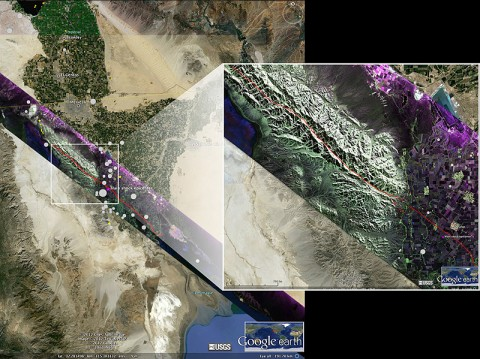 False-color composite polarimetric image over the central part of the fault ruptures (red lines) of the April 2010 El Mayor Cucapah earthquake in northern Baja California, acquired Feb. 3rd, 2012 by NASA's Uninhabited Aerial Vehicle Synthetic Aperture Radar (UAVSAR). (Image credit: NASA-JPL/Caltech/USGS/Google Earth)