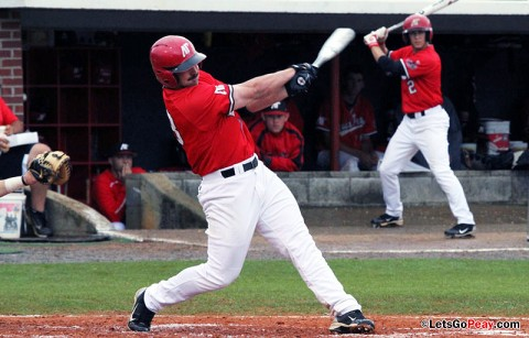Senior first baseman Tyler Childress hit his season's first home run in the Govs loss at Georgia State, Friday. Austin Peay Men's Baseball. (Courtesy: Austin Peay Sports Information)