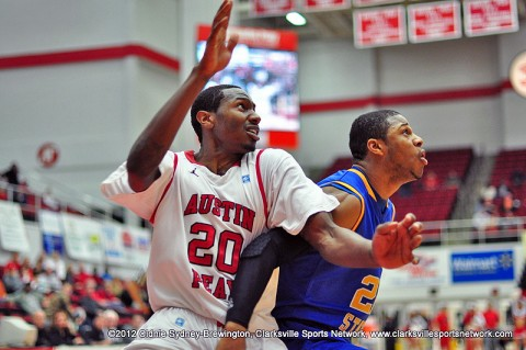 Melvin Baker positions himself under the goal during the Austin Peay Governors 52-48 loss to the Morehead State Eagles Wednesday night. Baker was the Governors leading scorer with 17 points.