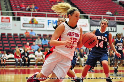 Senior Whitney Hanley recorded her season's first double-double in the Lady Govs first meeting with UT Martin this year. Austin Peay Women's Basketball.